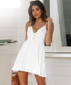 Kurzes weißes Kleid bohemian chic