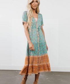 Langes Hippie Kleid mit Tie Dye Druck
